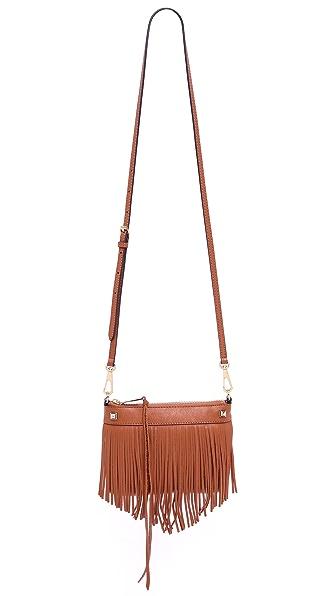 Миниатюрная сумочка через плечо, отделанная бахромой