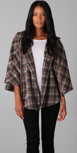 Robbi & Nikki Hooded Plaid Cape