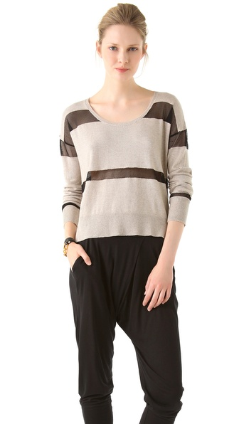 Robbi & Nikki Sheer Contrast Striped Sweater