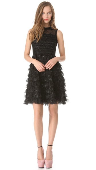 Rochas Sleeveless Ruffle Dress