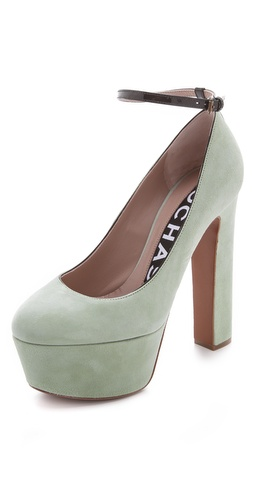 Rochas Suede Platform Pumps with Ankle Strap at Shopbop.com