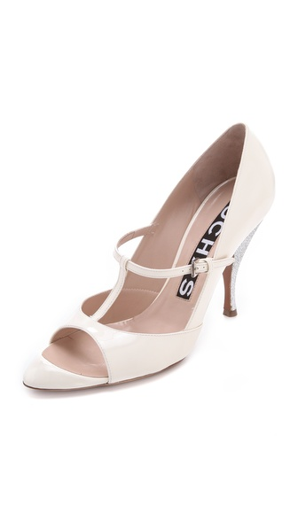 Rochas T Strap Patent Heels