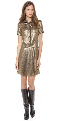 Rochas Short Sleeve Pleated Dress