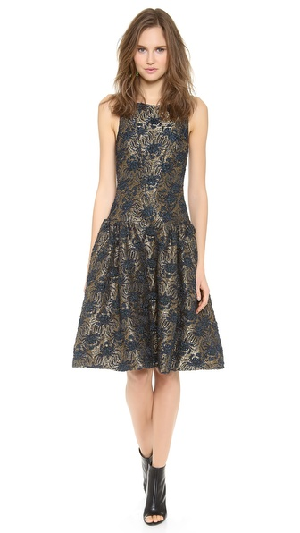 Rochas Sleeveless Jacquard Dress