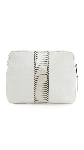 Rochas Leather Clutch with Snakeskin