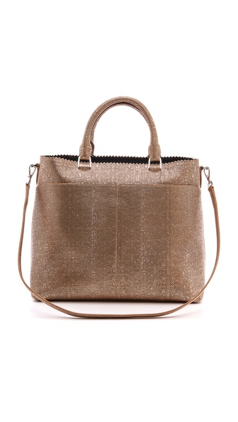 Rochas Metallic Pebbled Leather Tote