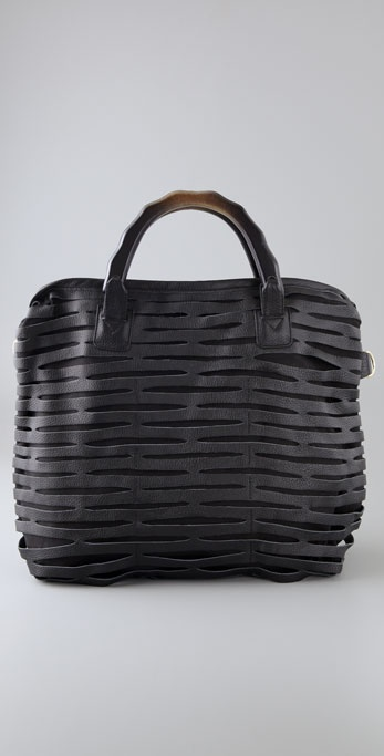 ROMYGOLD Biker Slash Tote with Wood Handles