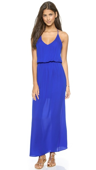Shop Rory Beca online and buy Rory Beca Ellie Deep V Neck Gown Royal online