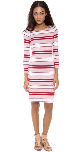 Shop Rachel Pally online and buy Rachel Pally Bianca Dress - A striped Rachel Pally dress in signature soft jersey. 3/4 sleeves. Unlined.  Fabric: Soft jersey. 92% modal/8% spandex. Dry clean. Made in the USA.  MEASUREMENTS Length: 36in / 91.5cm, from shoulder - Punch Stripe