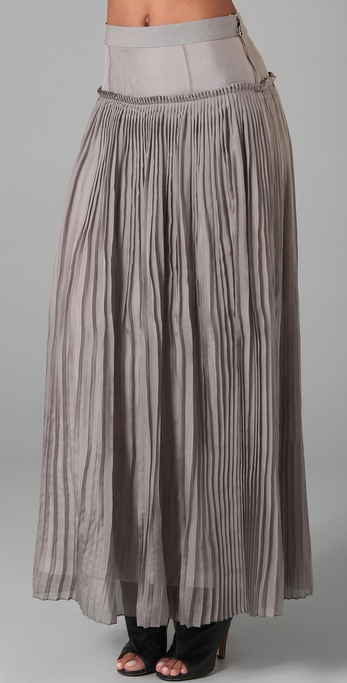 Robert Rodriguez Chiffon Pleated Long Skirt