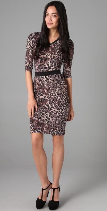 Robert Rodriguez Leopard Long Sleeve Dress