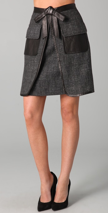 robert rodriguez tweed skirt with leather trim shopbop