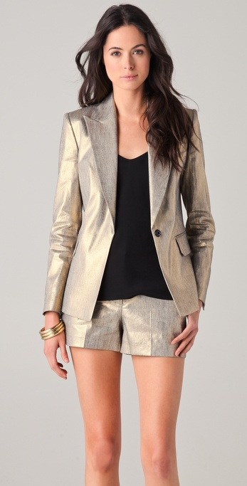Robert Rodriguez Gold Boyfriend Jacket