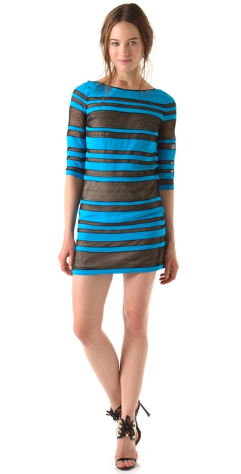 Robert Rodriguez Sheer Striped Shift Dress
