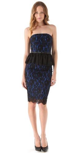 Shop Robert Rodriguez Strapless Lace Peplum Dress and Robert Rodriguez online - Apparel, Womens, Dresses, Cocktail, Night_Out,  online Store