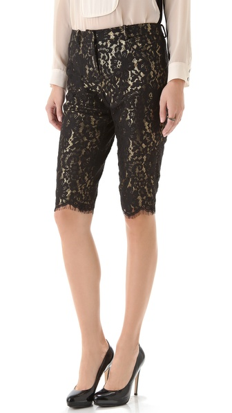 Robert Rodriguez Lace Metallic Shorts