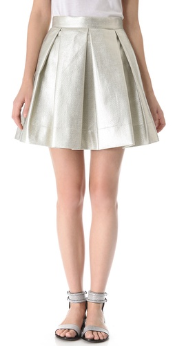Robert Rodriguez Raffia Box Pleat Skirt