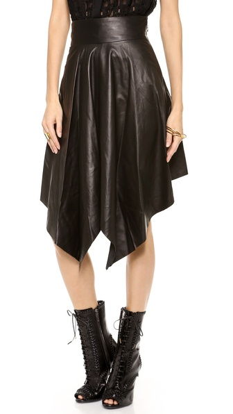 Robert Rodriguez Handkerchief Leather Skirt