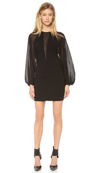 Robert Rodriguez Techno Crepe Illusion Dress