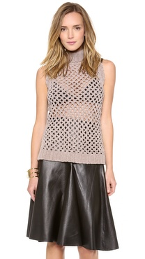 Robert Rodriguez Grid High-Low Sleeveless Turtleneck Sweater