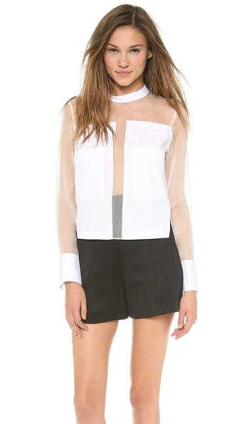 Robert Rodriguez Blocked Organza Shirt