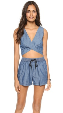 Robert Rodriguez Chambray Crop Top