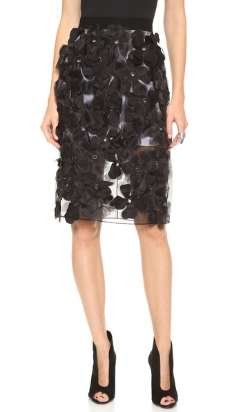 Robert Rodriguez Appliqued Flower Skirt