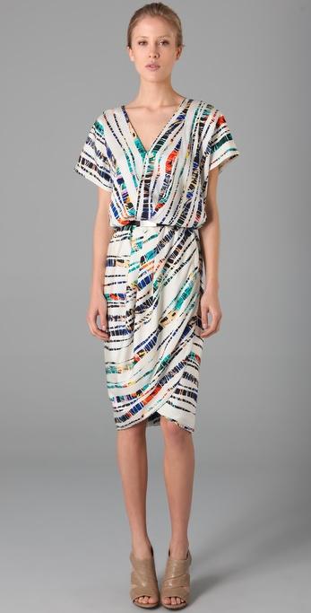 Rachel Roy Print Drape Tulip Dress