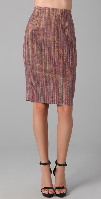 Rachel Roy Lurex Striped Pencil Skirt
