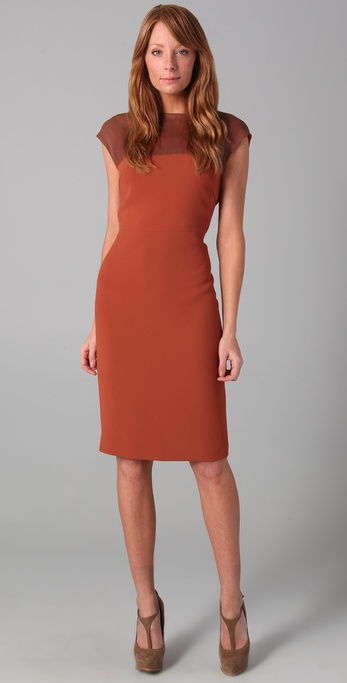 Rachel Roy Sleeveless Dress with Leather Yoke