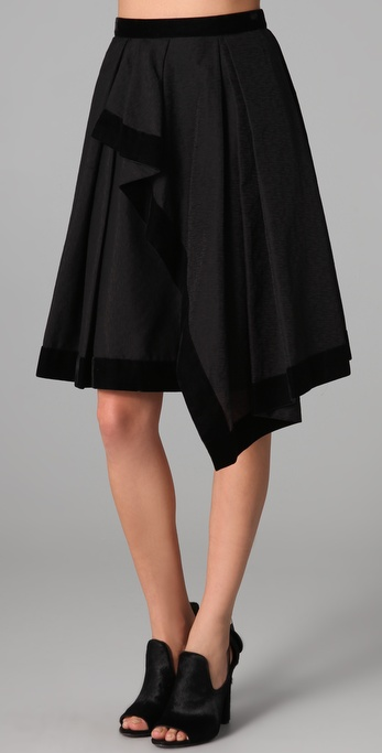 Rachel Roy Draped Skirt with Velvet Trim