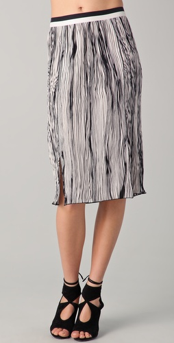 Rachel Roy Pleated Striped Skirt