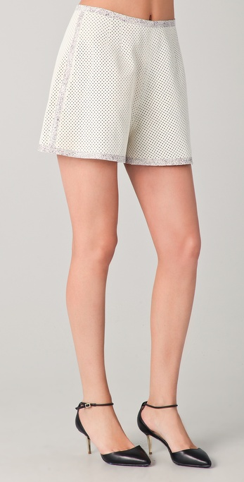 Rachel Roy Perforated Leather Shorts