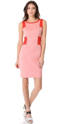 Rachel Roy Leather Mix Sheath Dress