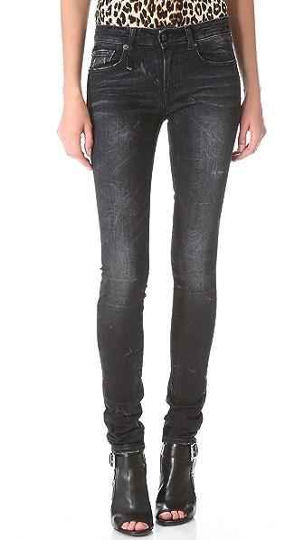 R13 Black Marble Skinny Jeans