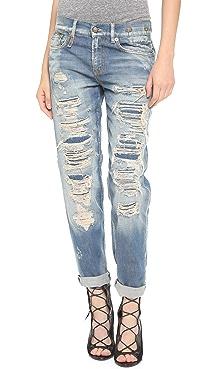 R13 Shredded Boyfriend Jeans