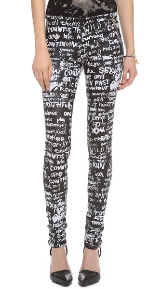 R13 Graffiti Pull-On Leather Leggings