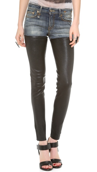 R13 Leather Chap Jeans