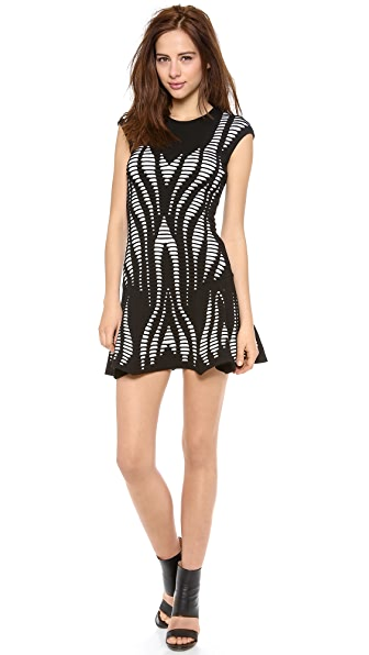 RVN Cutout Illusion Skater Dress