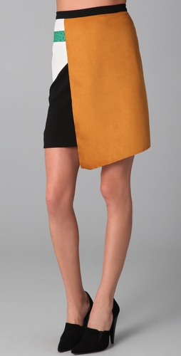 Sachin + Babi Faux Suede Combo Wrap Skirt