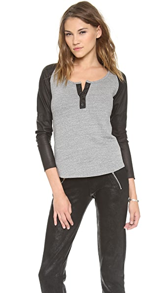 MODERNSAINTS Perforated Leather Sleeve Sweatshirt