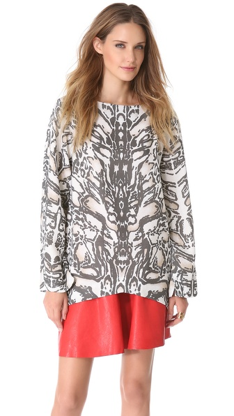 Sally LaPointe Ocelot Oversized Top