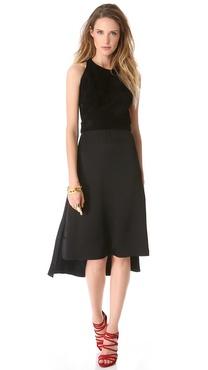 Sally LaPointe Sleeveless Dress with Suede Bodice