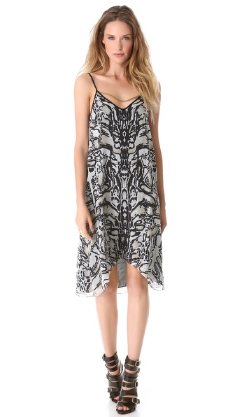 Sally LaPointe Ocelot Dress with Chain Detail