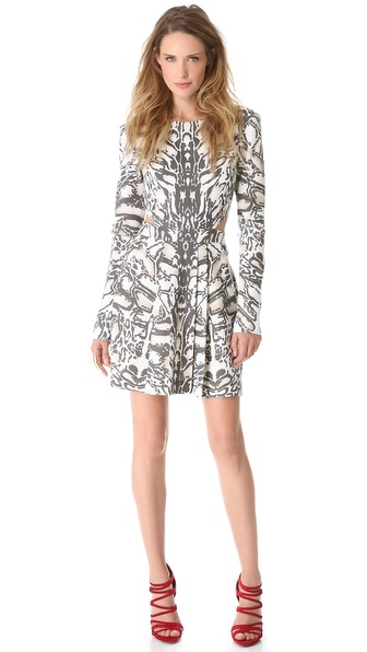 Sally LaPointe Ocelot Cutout Dress with Long Sleeves