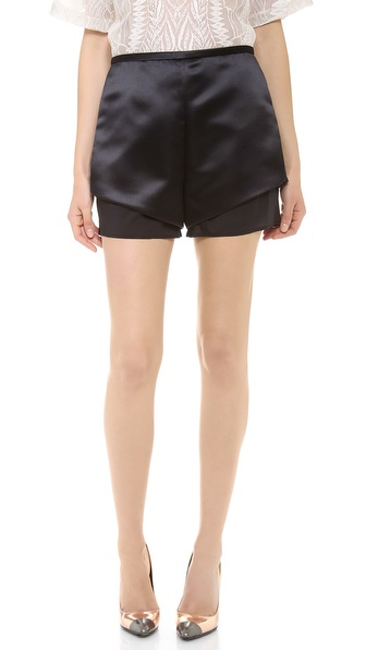 Sally LaPointe Satin Shorts with Organza Trim