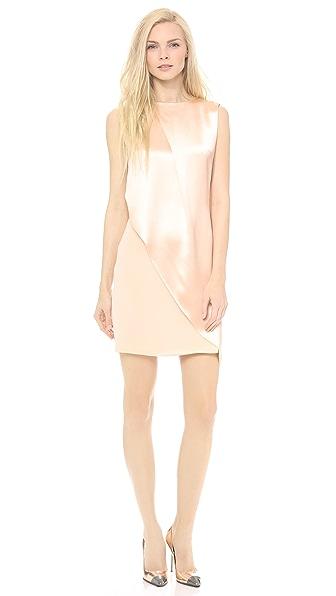 Sally LaPointe Crepe Back Satin Sleeveless Drape Dress