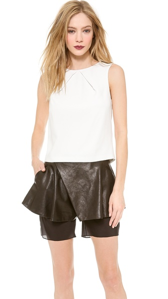 Sally LaPointe Pebble Crepe Pleat Neck Top