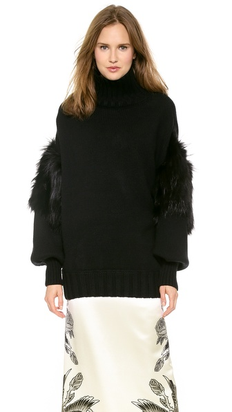 Sally LaPointe Sweater with Fur Sleeves
