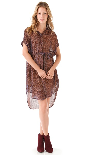 Saloni Tilda Velvet Shirtdress